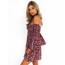 Off shoulder Mini Dress-Slash neck