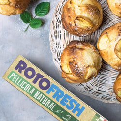 Rotofresh compostable cling wrap and apple muffins