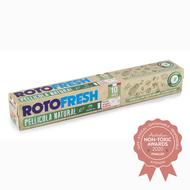 Made with renewable raw materials, entirely natural, biodegradable and compostable cling wrap. Made from mater-bi. 10 MT