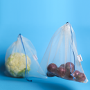 2 reusable but also COMPOSTABLE produce bag to carry your fruits and vegetables directly from the shop to your fridge. Blue trim version.