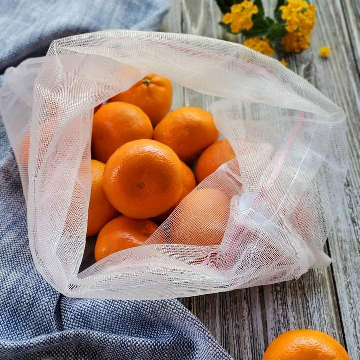 3 reusable but also COMPOSTABLE produce bag to carry your fruits and vegetables directly from the shop to your fridge. Lovebirds  version, 2 bags with yellow trim and 1 with peach trim.