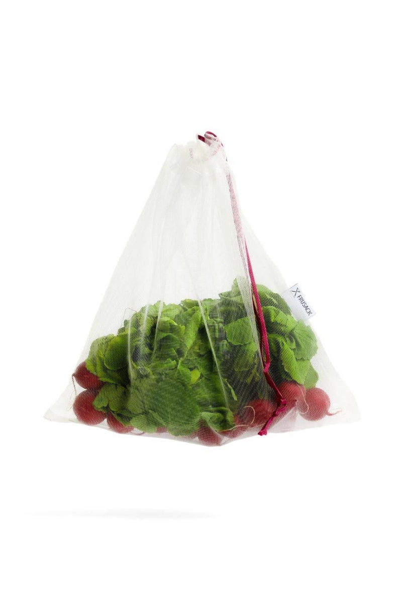 2 reusable but also COMPOSTABLE produce bag to carry your fruits and vegetables directly from the shop to your fridge. Pink trim version.