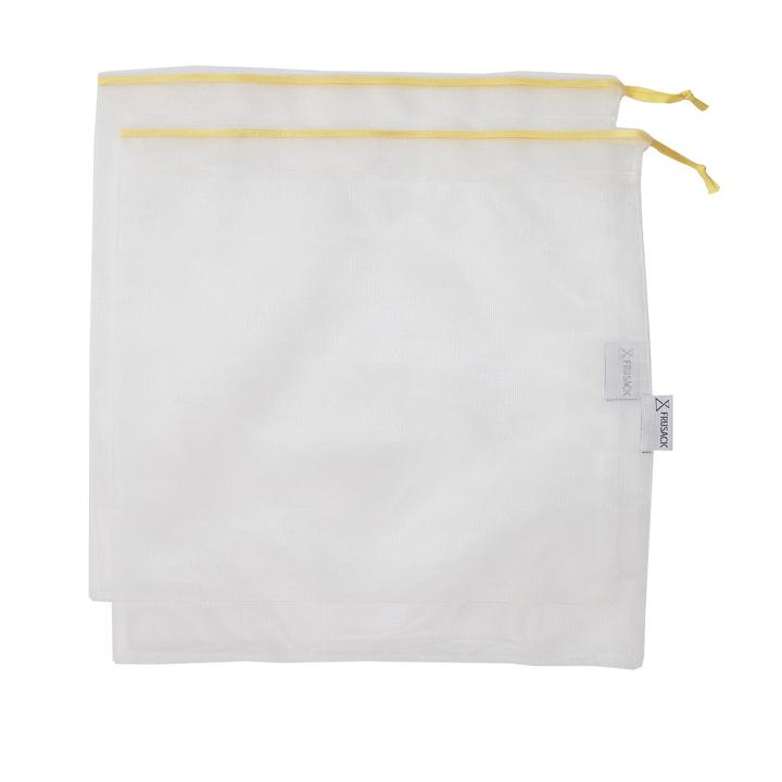 2 reusable but also COMPOSTABLE produce bag to carry your fruits and vegetables directly from the shop to your fridge. Yellow trim version.