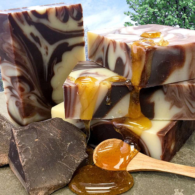 Moisturizing soap enriched with unrefined organic fair trade cocoa butter and swirled with raw cocoa powder and real dark chocolate.