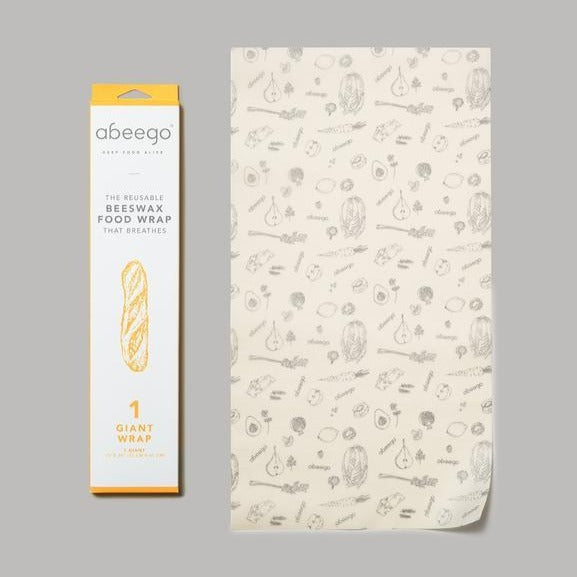 Beeswax food wrap, giant pack x 1. Made with beeswax, tree resin, and organic jojoba oil infused into a hemp and organic cotton cloth.
