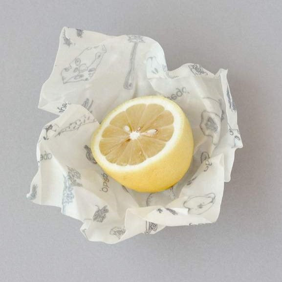Beeswax food wrap, small pack x 6. Made with beeswax, tree resin, and organic jojoba oil infused into a hemp and organic cotton cloth.