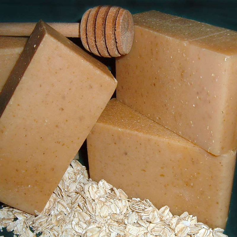 Goat milk & Honey soap. Soothing oatmeal gently exfoliates as the honey traps and seals in moisture leaving skin soft and supple. Great for sensitive skin.