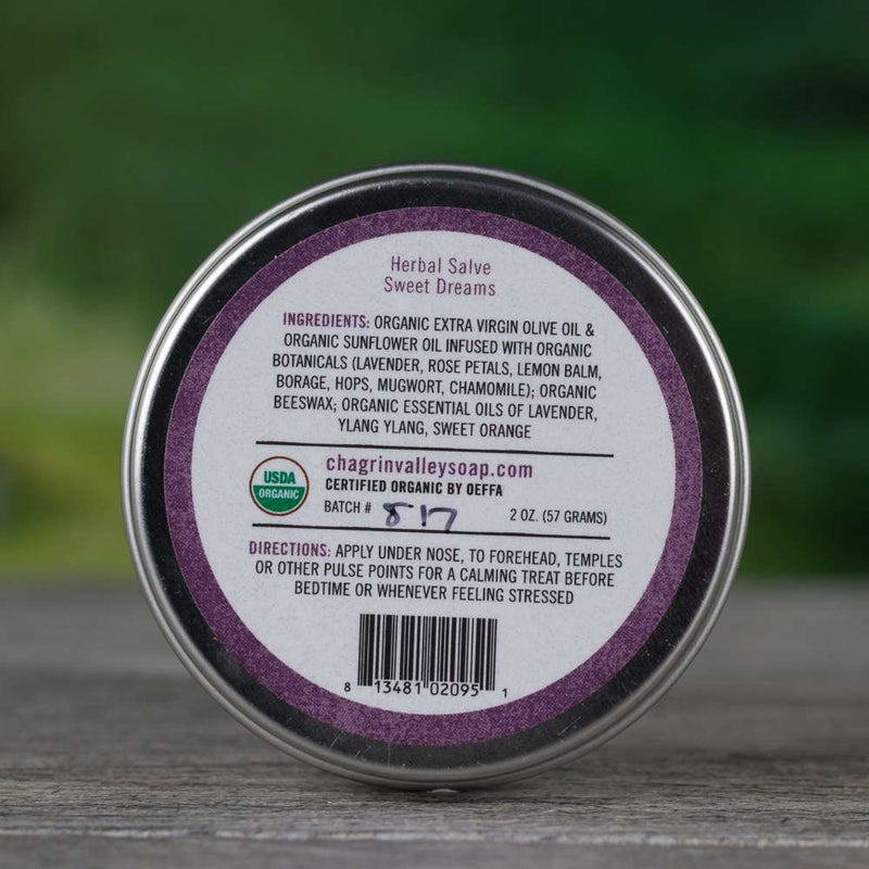 Organic balm with an infusion of comforting herbs soothes your nerves and calms your thoughts so you can relax and sleep naturally.