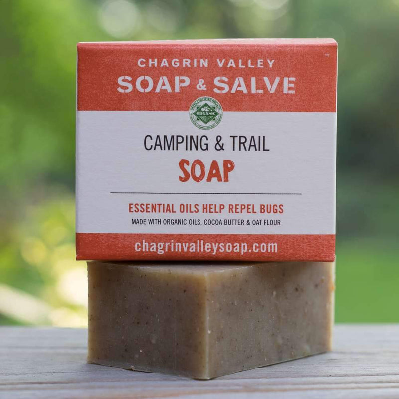 Camping & Trail organic soap bar formulated with essential oils known to discourage mosquitoes and other insects.