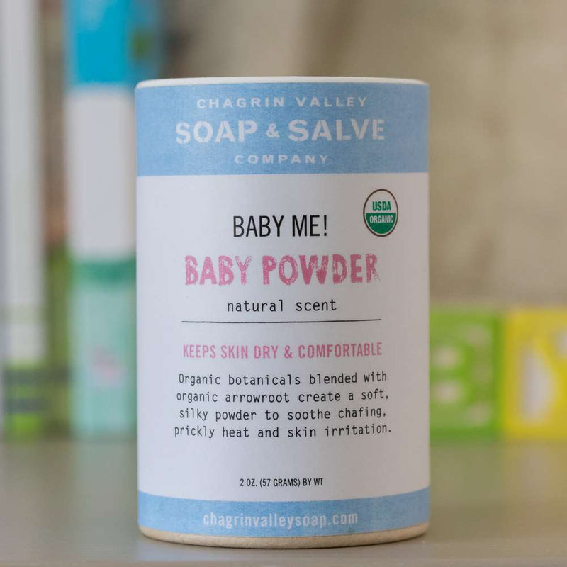 An organic baby powder formulated for your baby's delicate skin. Talc free, cornstarch free, gluten free, synthetic free.