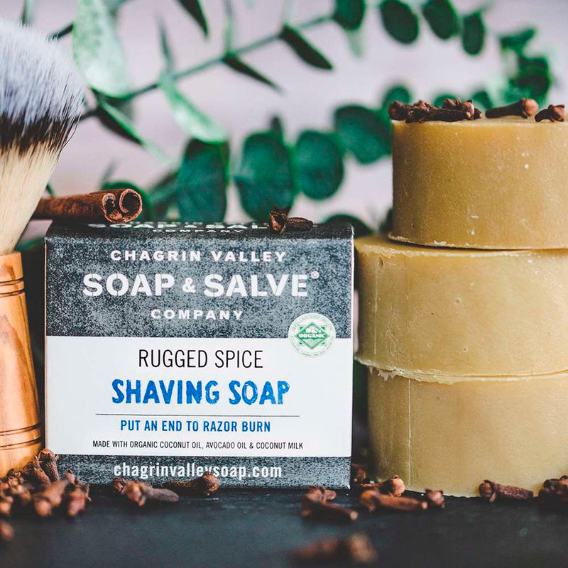 Organic rugged spices shaving soap enriched with shea and cocoa butters plus a warm and refreshing spiced essential oil blend to balance natural skin oils.