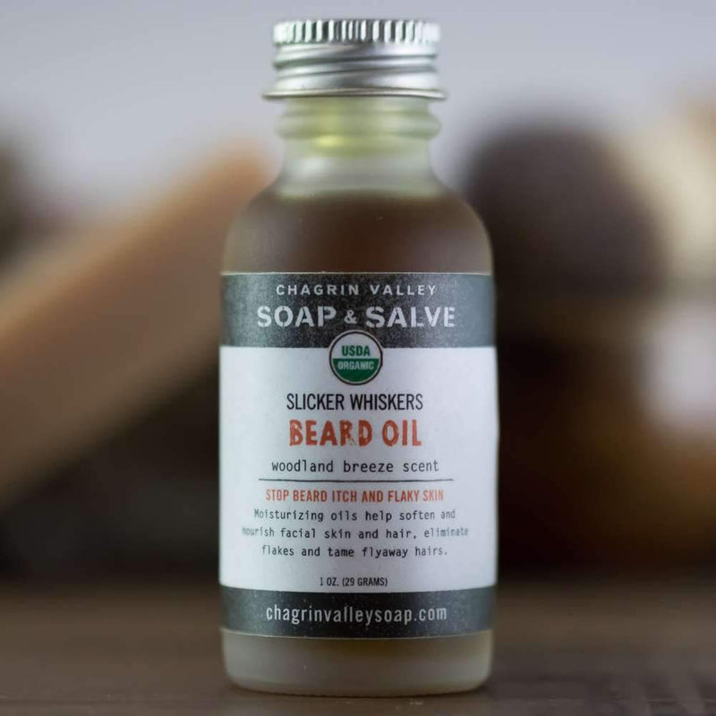 Excellent for all skin types, this organic beard and mustache oil softens and smooths the beard while it moisturizes and nourishes skin. Woodland Breeze, a woodsy outdoors scent with fresh cypress, juniper berry and bergamot, good for acne prone skin.