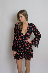 Diaz Floral Deep V Neck