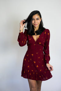 Loiza Floral Ruffled Dress - Burgundy