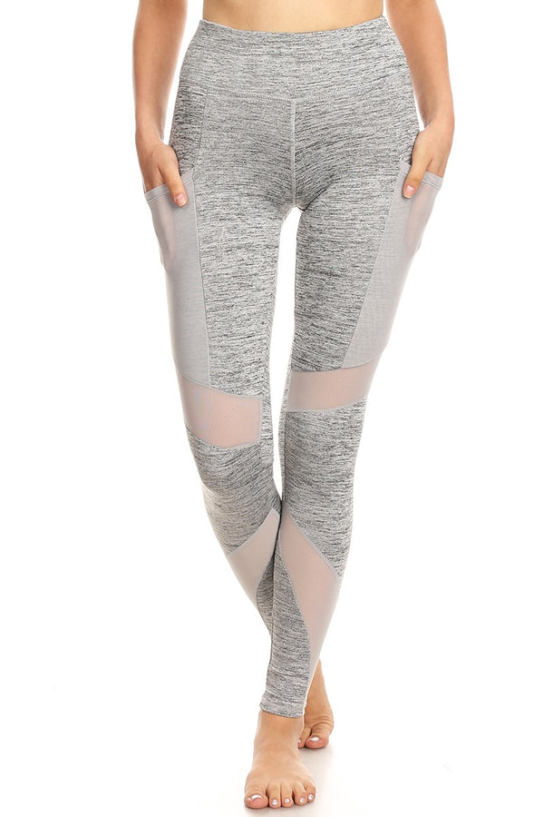 High Waist Yoga Pants with Mesh Pockets - Grey