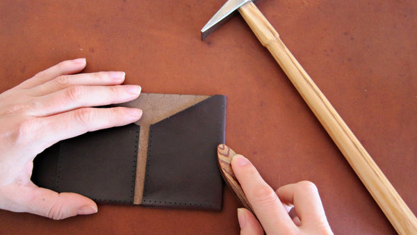 minimum squared Slim Wallet Horween Chromexcel handmade folding