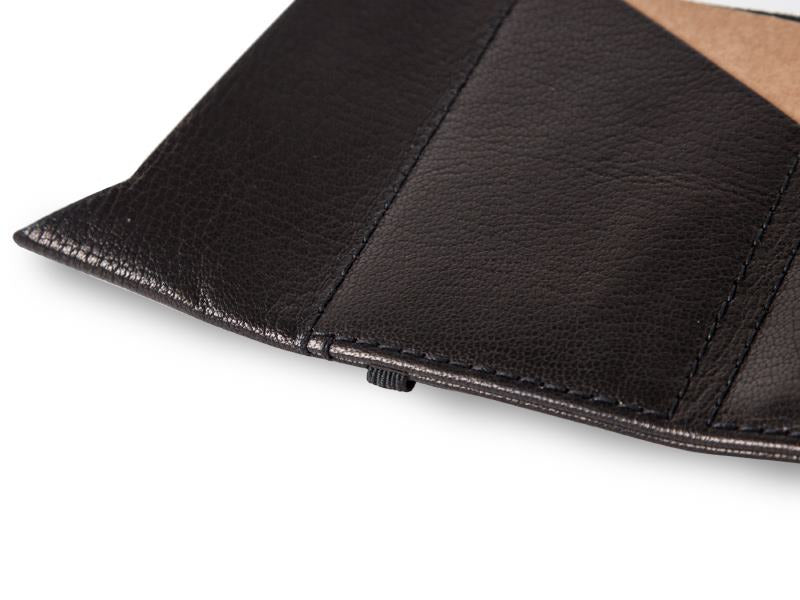 slim elastic wallet british goat leather black