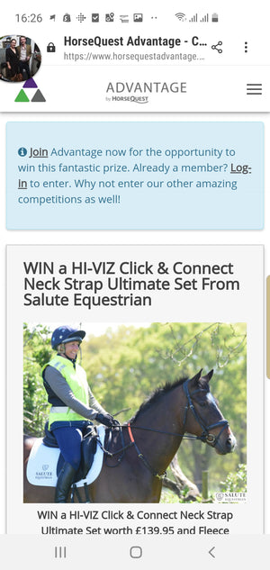 Horsequest Advantage members can win a HI-VIZ Click & Connect Neck Strap Ultimate Set