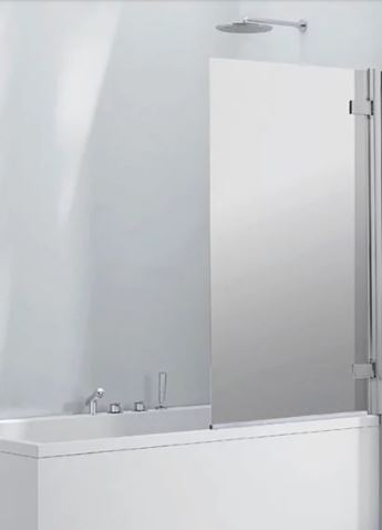 Aquaglass 8mm Frameless Mirrored Bath Screen fl