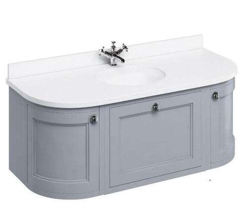 Burlington Modular Wall Hung Curved Vanity Unit With Worktop, 134cm