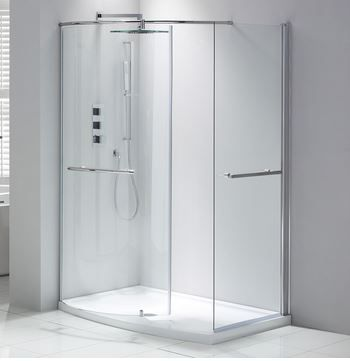 Aquaglass Purity Closing Walk In, Enclosure Polished Sliver