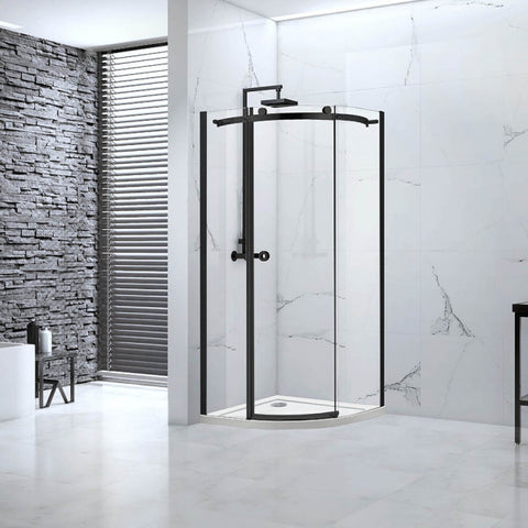 Aquaglass Sphere 1 Door Quad Shower Enclosure, Matt Black