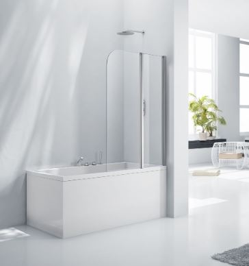 Aquaglass 6mm Double Folding Bath Screen fl