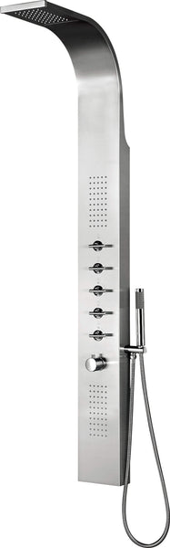 Shower - Dharma thermostatic shower panel with head shower with water blade; built-in body jets and chrome hand shower HP3 - Aquaflow Italia Shower Panels