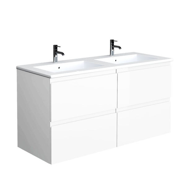 Unit - Joy Pure White 1210mm wall hung vanity unit & ceramic basin - Joy Bathroom Furniture