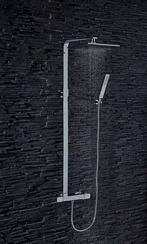 Shower - F60 slimline thermostatic shower column with diverter; square chrome fixed head and chrome hand shower HP2 - Aquaflow Italia Shower Columns
