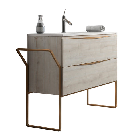 Vogue 2 drawer vanity unit & floor standing legset