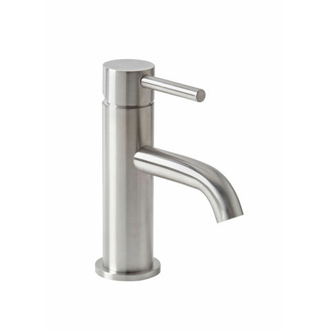 Basin Mono - Solito basin mono with click-clack waste and a brushed steel finish MP - Aquaflow Edition Brassware Collection