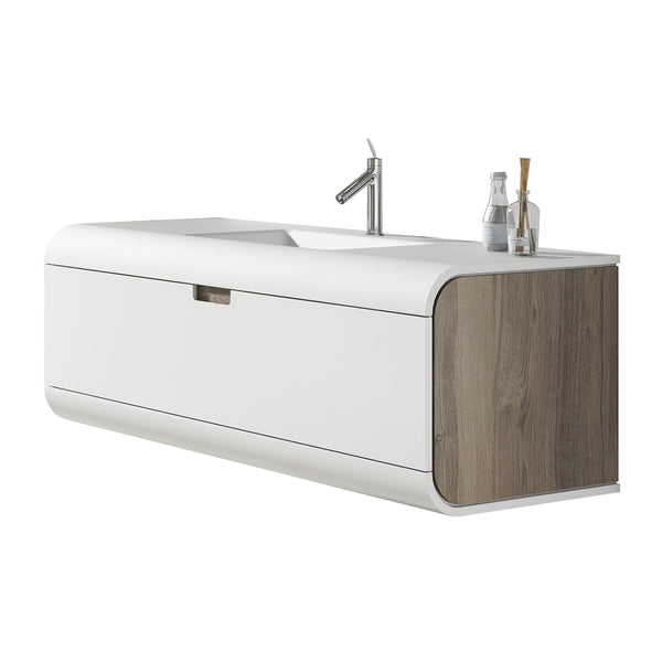 Sunne 1 drawer wall hung vanity unit & solid surface basin. FL