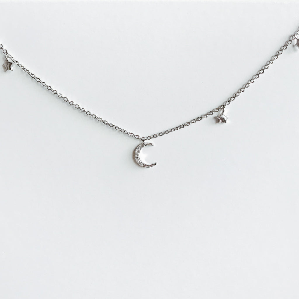 Moon & Stars Sterling Silver Choker Necklace