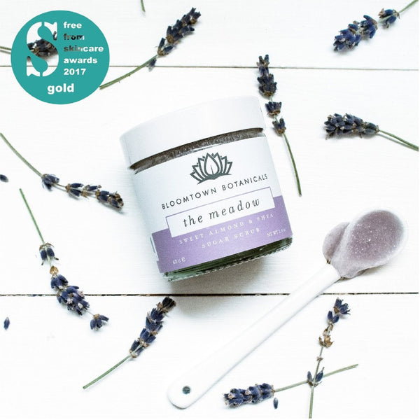 Bloomtown Botanicals Exfoliating & Moisturising Sugar Scrub: The Meadow (Lavender & Rose Geranium) 100g