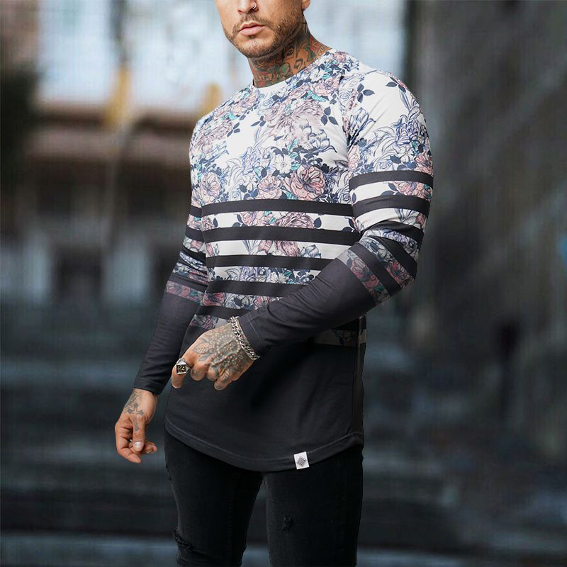 Men's Fashion Floral Stripe Slim Long Sleeve T-Shirt