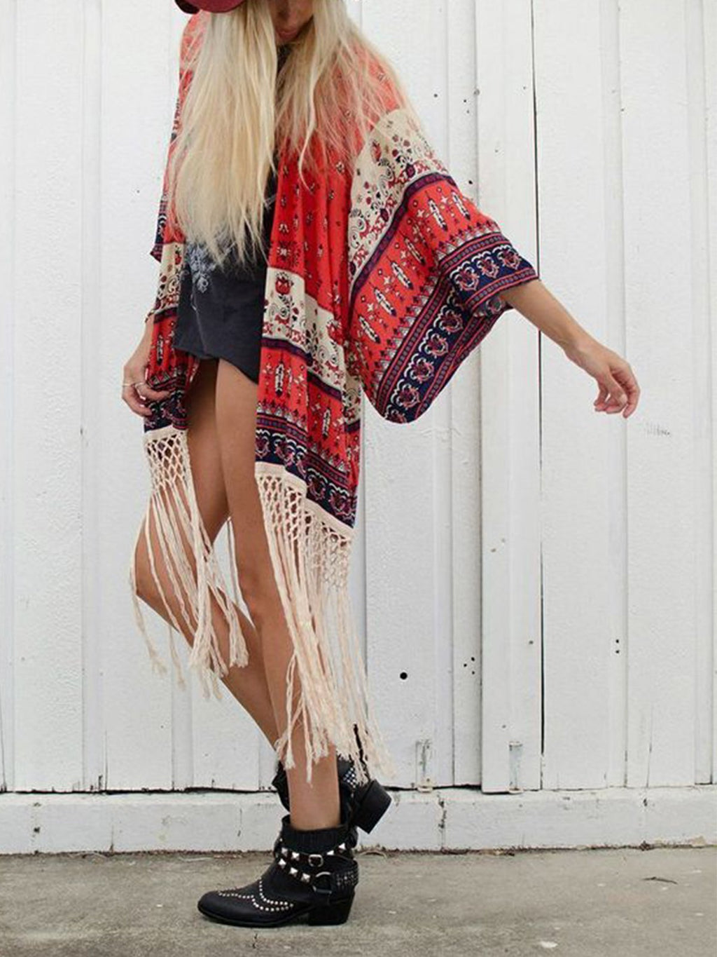 Red Tribal Fringed Cotton Casual Outerwear