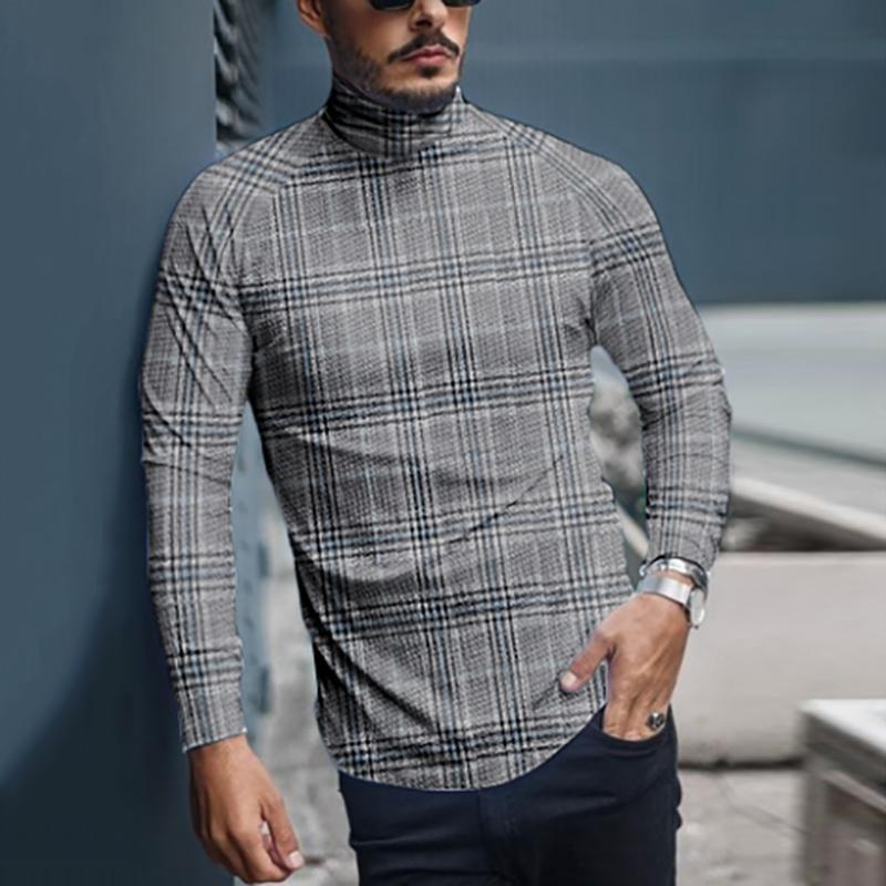 Men's Fashion Casual Check Turtleneck Long Sleeve T-Shirt