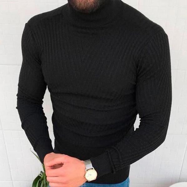 Simple Pure Colour High Collar Sweater