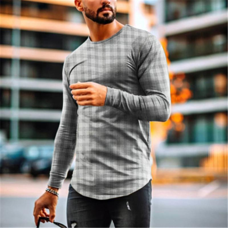 Men's Fashion Casual Check Long Sleeve T-Shirt