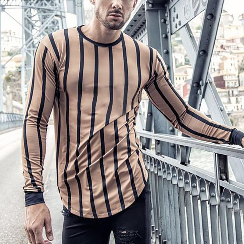 Men's Fashion Casual Striped Long Sleeve T-Shirt