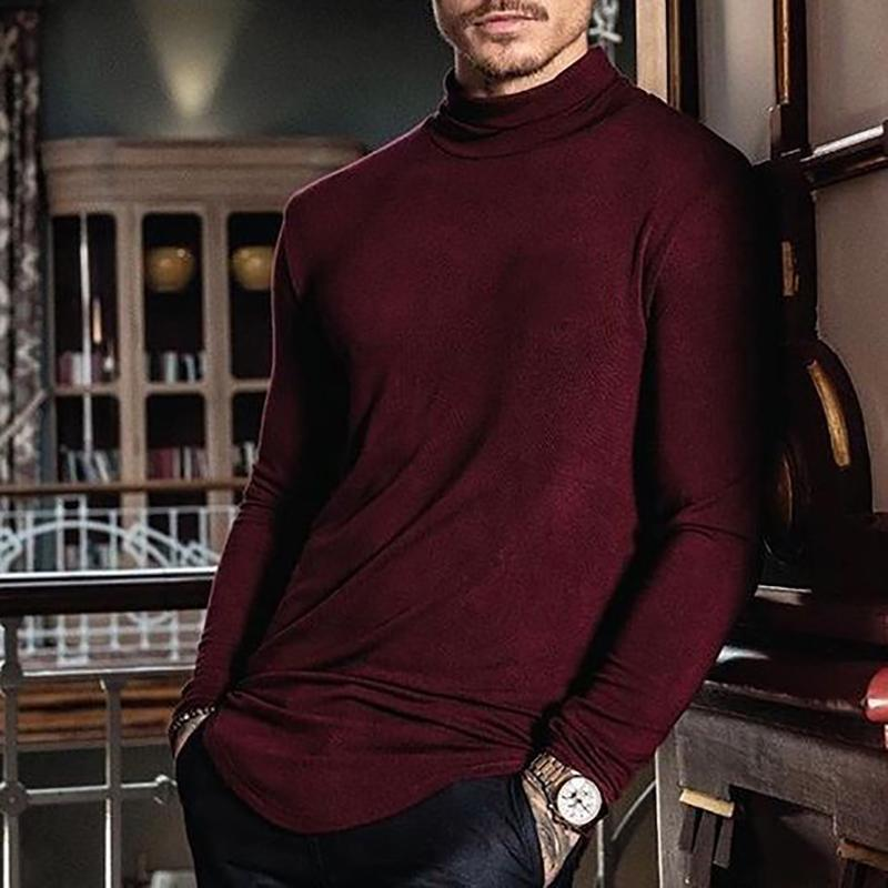 Men's Fashion Casual Pure Color Turtleneck T-Shirt