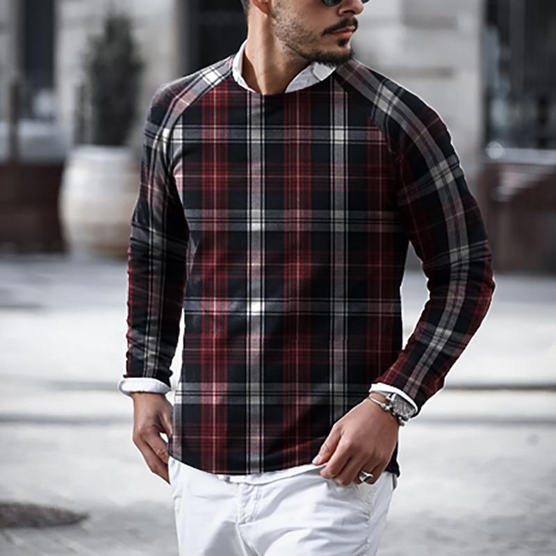Men's Casual Plaid Round Neck T-shirt