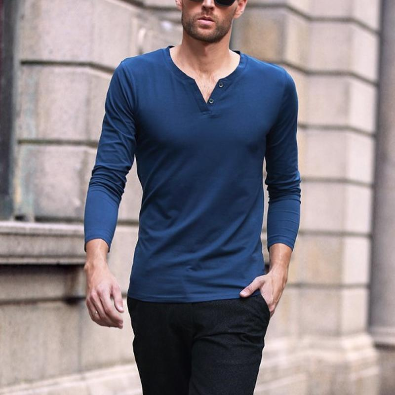 Men's Fashion Solid Color V-Neck Long Sleeve T-Shirt