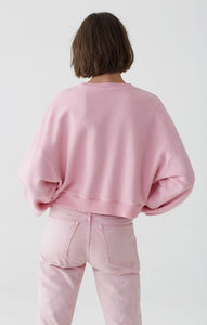 Balloon Sleeve Cropped in Baby Pink