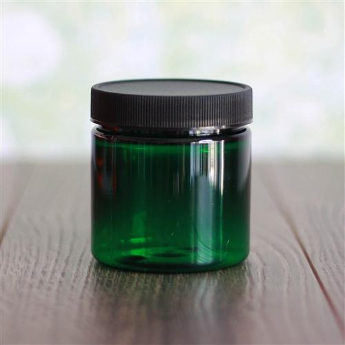 4 oz Green Jar with Black Rib Cap