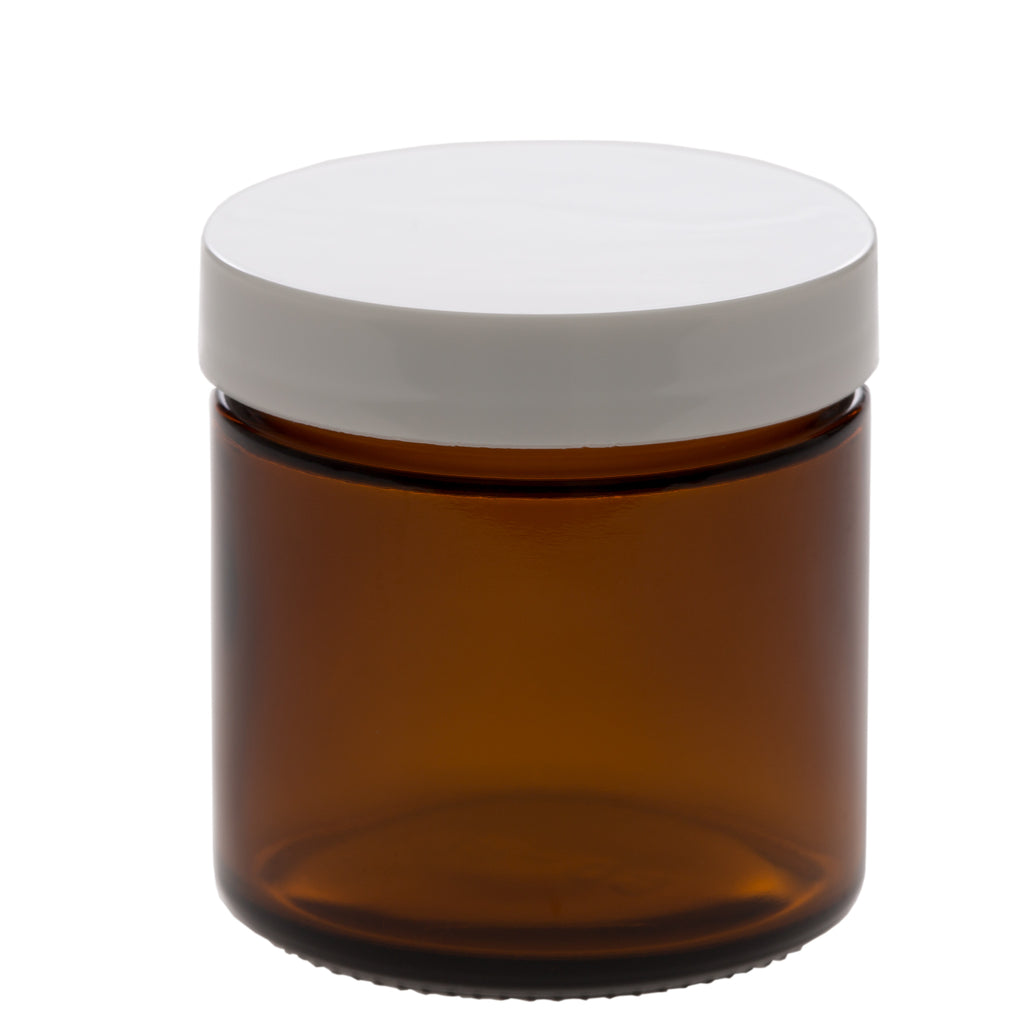 100 ml Amber Glass Jar with 58-400 White Gloss Smooth Cap