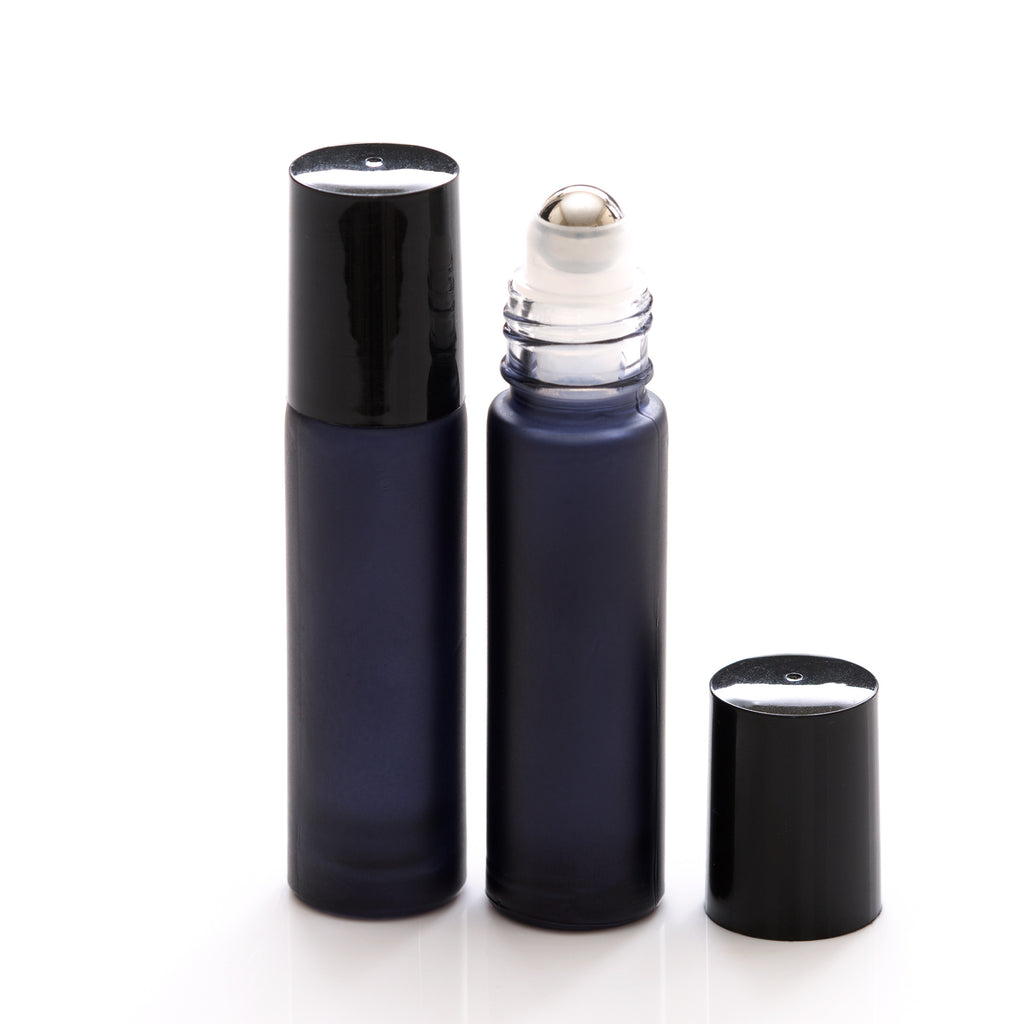 10 ml Black Frosted Glass Rollerball Bottle with Black Cap