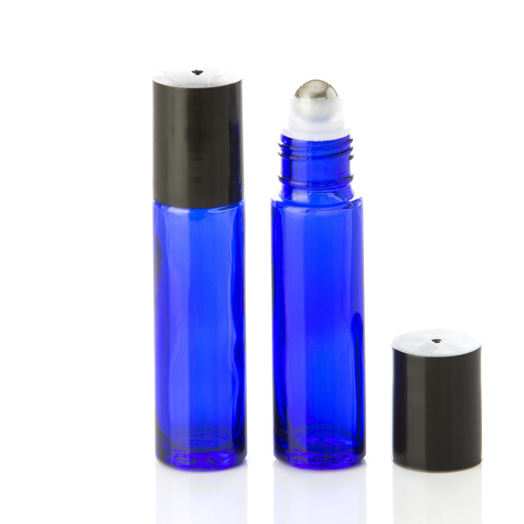 10 ml Blue Glass Rollerball Bottle with Black Cap