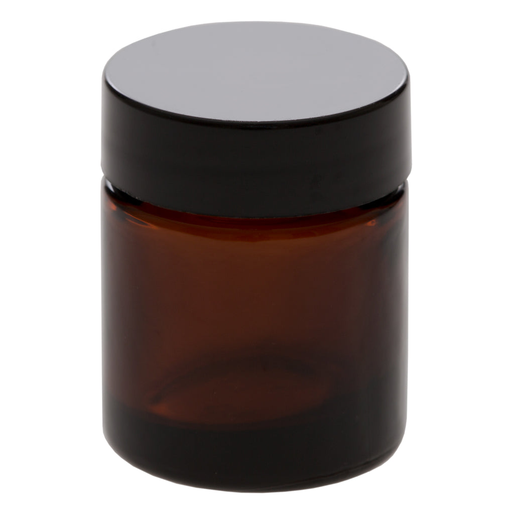 15 ml Amber Glass Jar with 33-400 Black Gloss Smooth Cap
